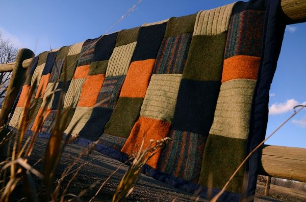 Hand Crafted Upcycled Wool Sweater Blanket Ellalu And