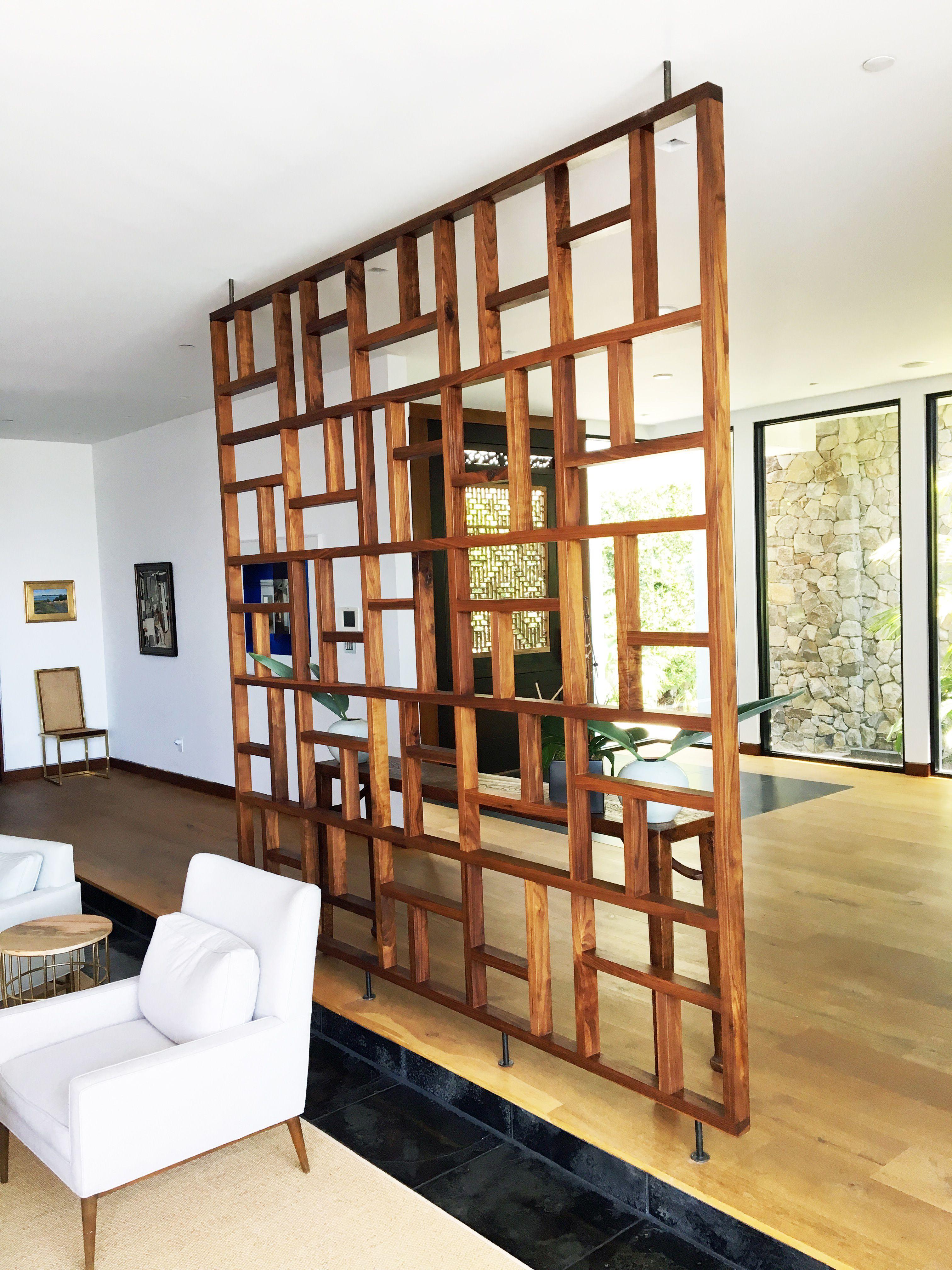 Handmade Solid Wood Geometric Room Screen Room Divider by