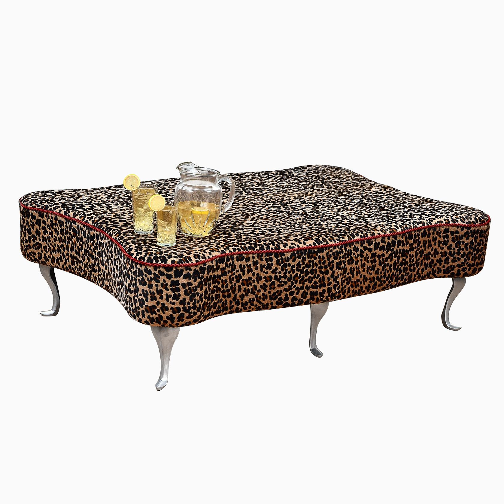 Coffee Leather Table Ottoman