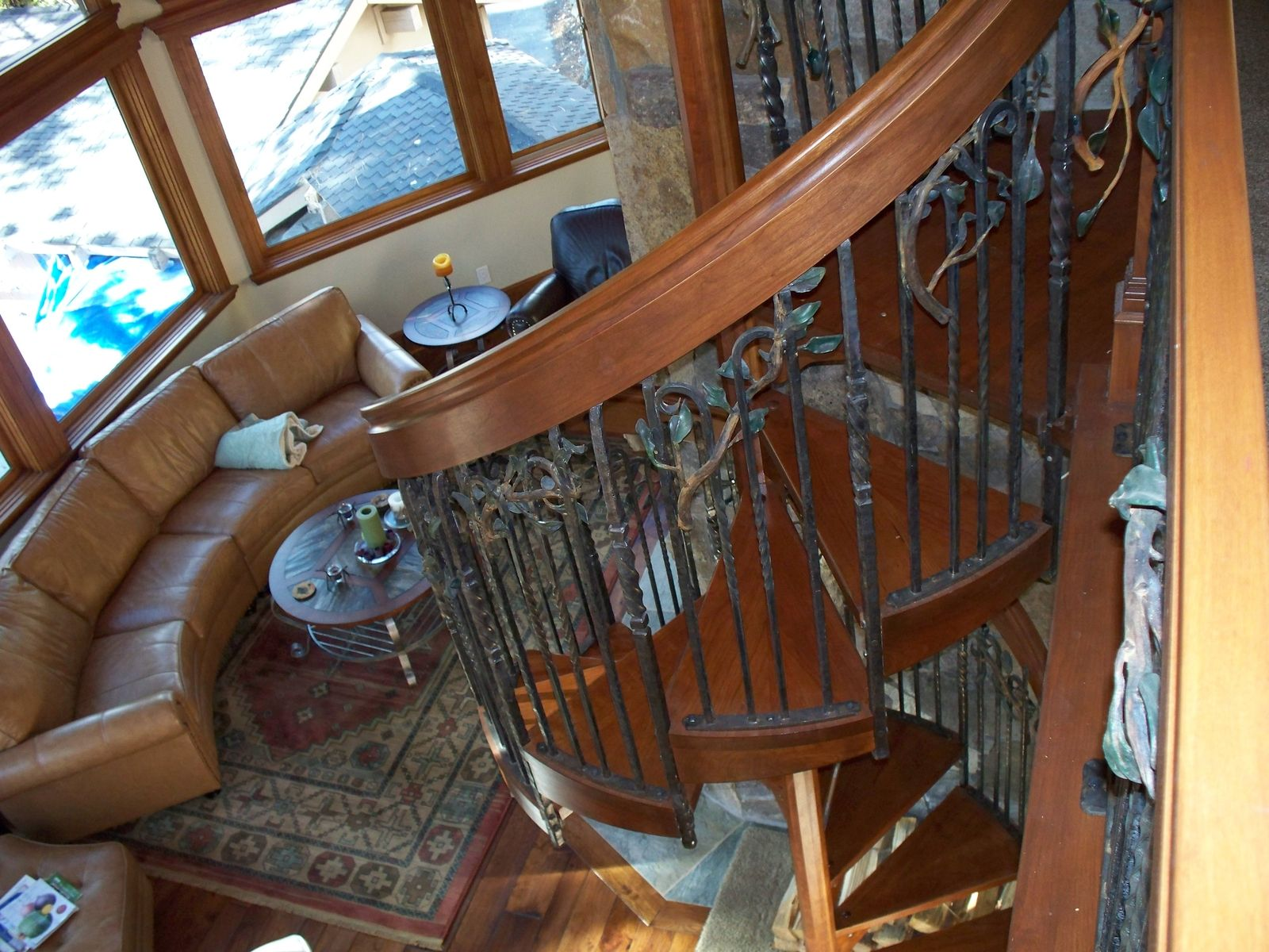 Hand Made Melting Iron  Wood Into A Spiral Staircase by