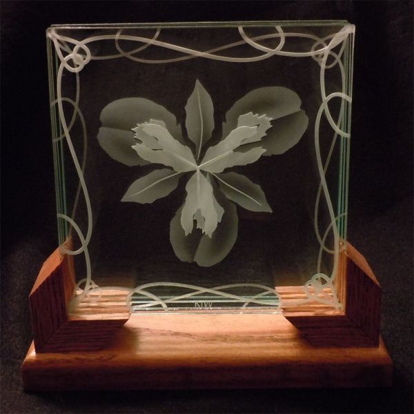 Custom 3d Layered Decorative Art Display - Iris Flower Etched Glass With Wood Stand