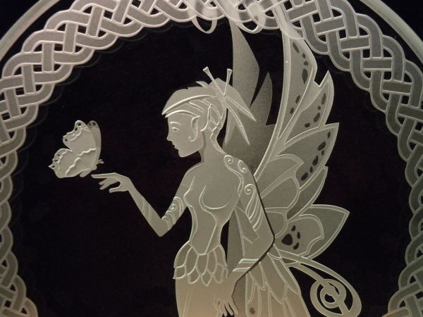 Hand Fairy With Butterfly - Celtic Knotwork Etched