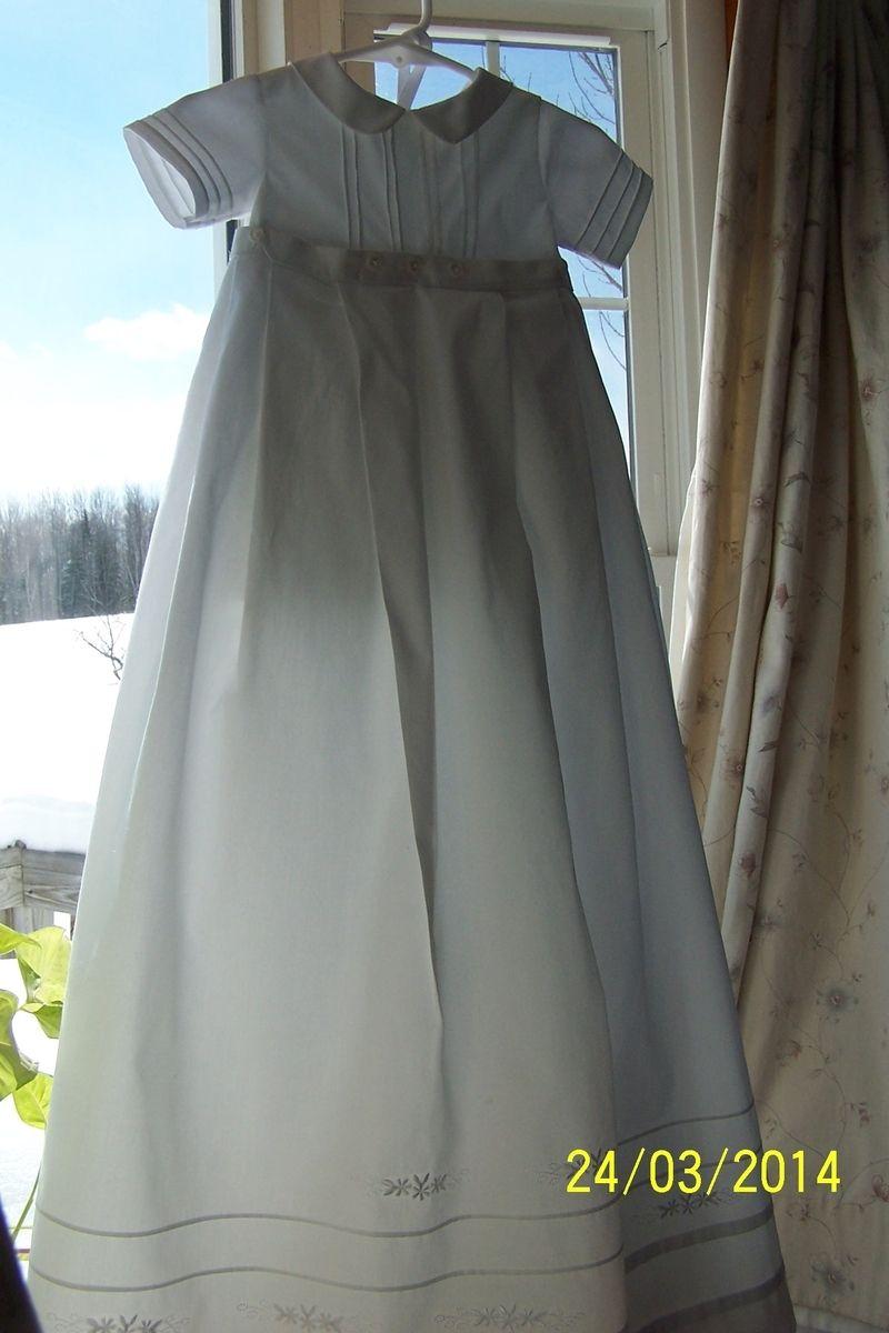 Handmade White Christening Romper With Detachable Skirt by