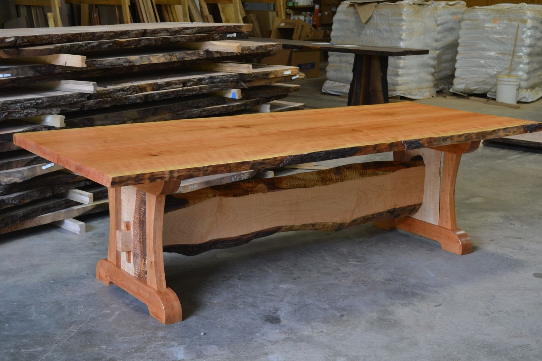 live edge kitchen table used cabinets ct hand crafted cherry dining with trestle custom made base