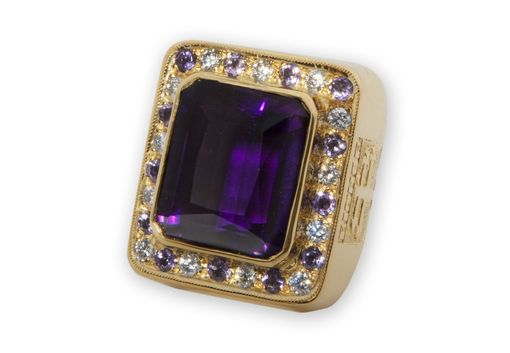 Custom Made Bishops Ring Large Size With Gemstones By The