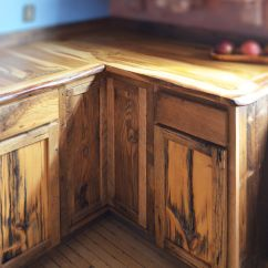Farmhouse Kitchen Cabinets Mosaic Floor Tiles Custom Live Edge Oak With Rustic Front Facing ...