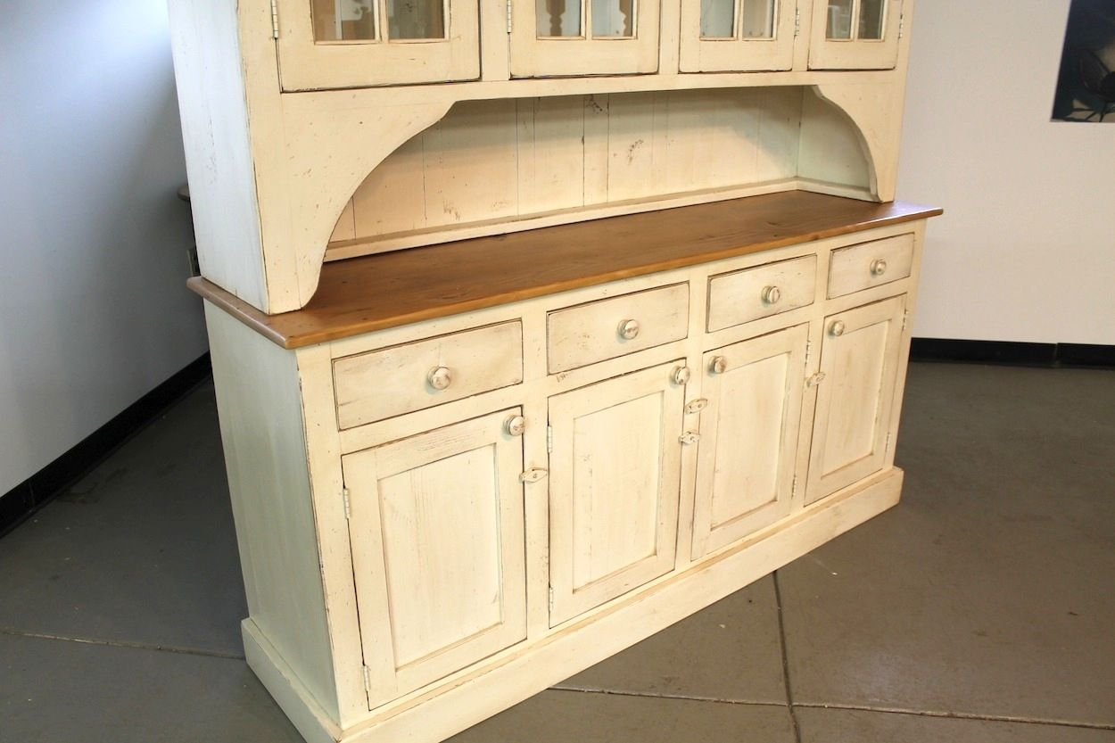 Hand Made Large Farmhouse Hutch In Buttermilk Finish By