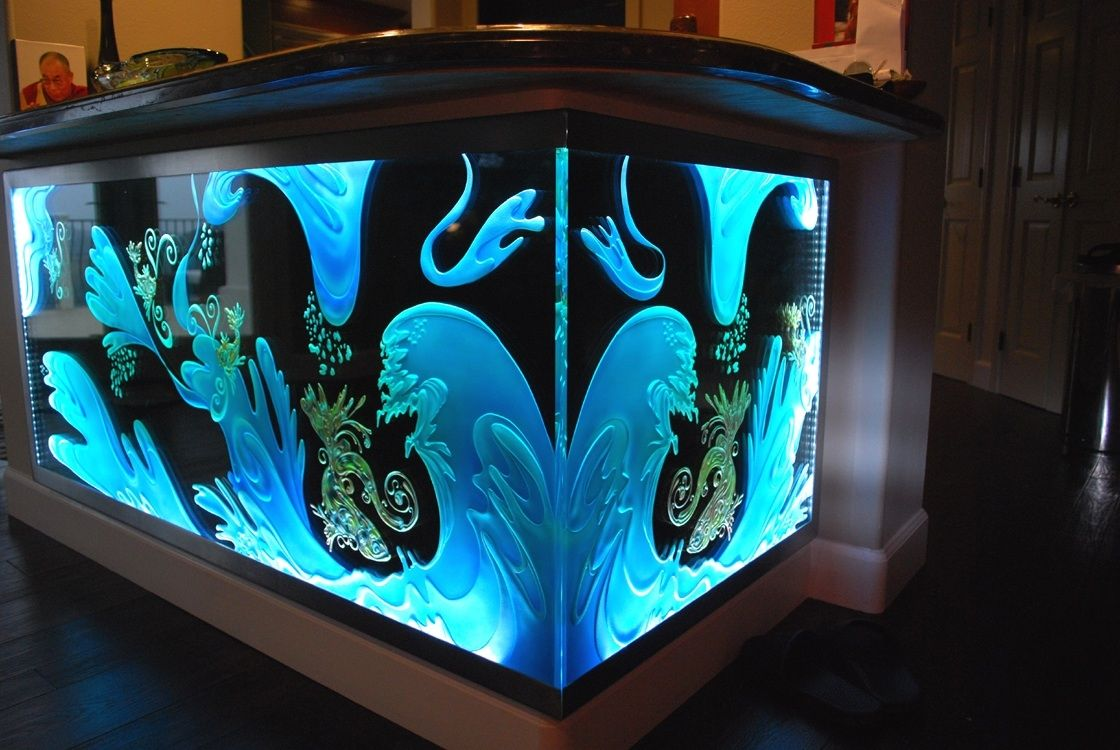 Hand Made Custom Bar With Etch Glass Front by Robert Guenther Signature Glass Collection