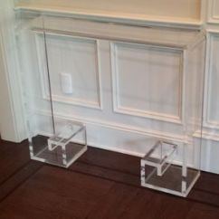 Sofa Table Size Cream Microfiber Custom And Console Tables Artisan Designed Handcrafted Waterfall Edge With Greek Key Base Welcome