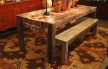 Handmade Salvaged Boat Wood Dining Table Mortise