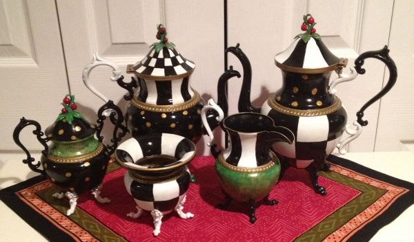 Hand Crafted Custom Painted Silver Tea Set - Pot