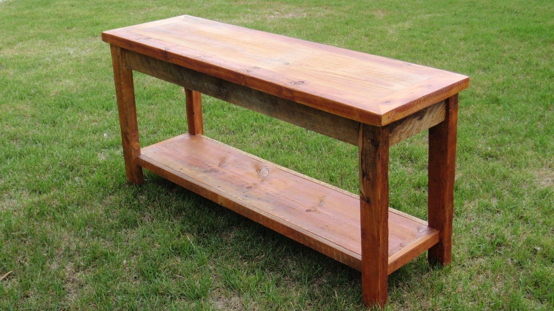 custom made sofa tables dolphin fabric 3 2 beige brown set handmade barnwood table by son ranch furnishings