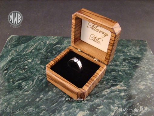 Buy a Hand Crafted Zebra Wood Engagement Ring Box With