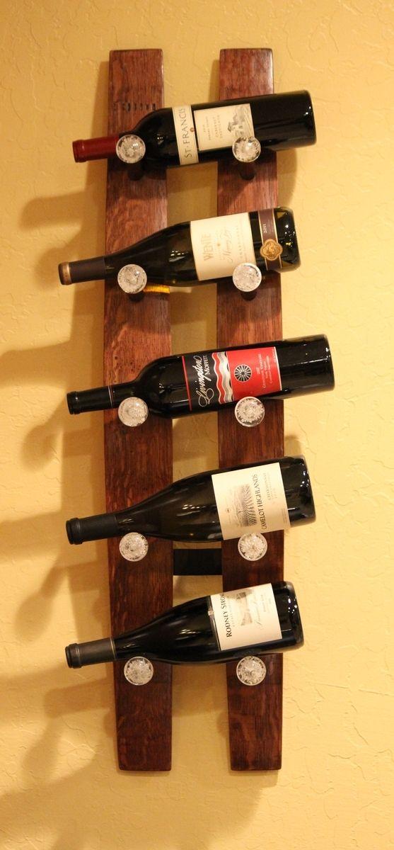 modern kitchen knobs matt hand crafted wine stave 5 bottle rack by treasured ...
