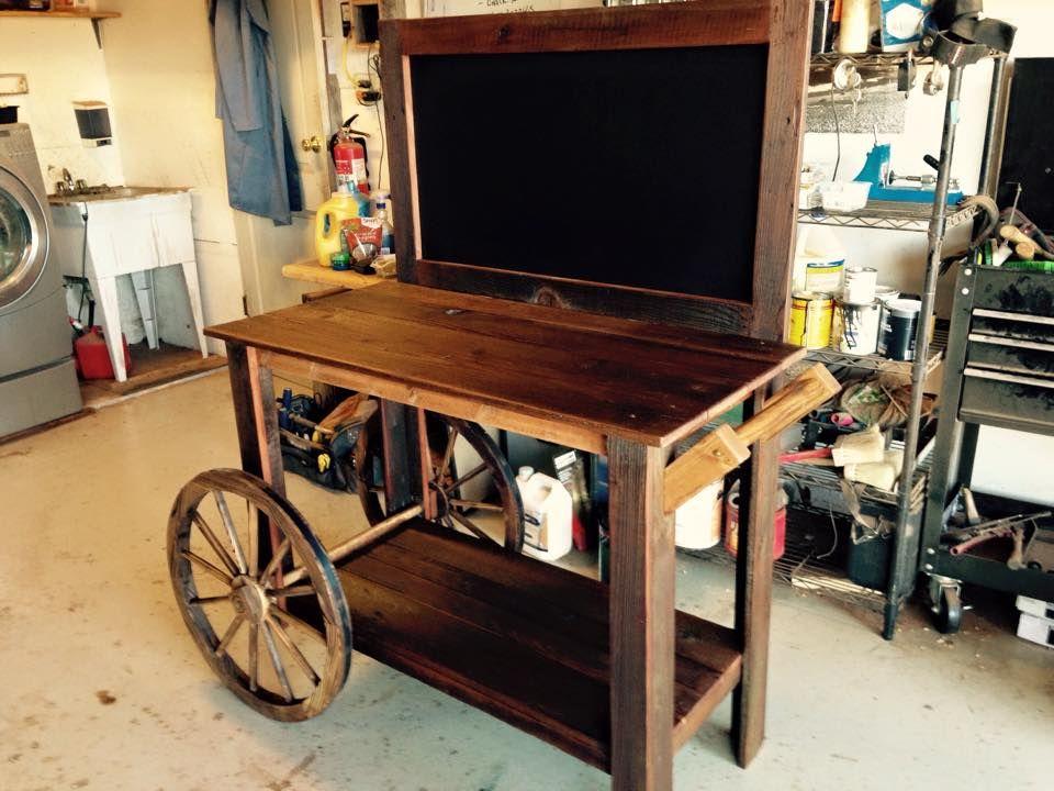 Hand Made Reclaimed Wood Dessert Cart By Urban Mining