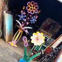 Handmade Whimsical Artwork Outdoor Metal Flower