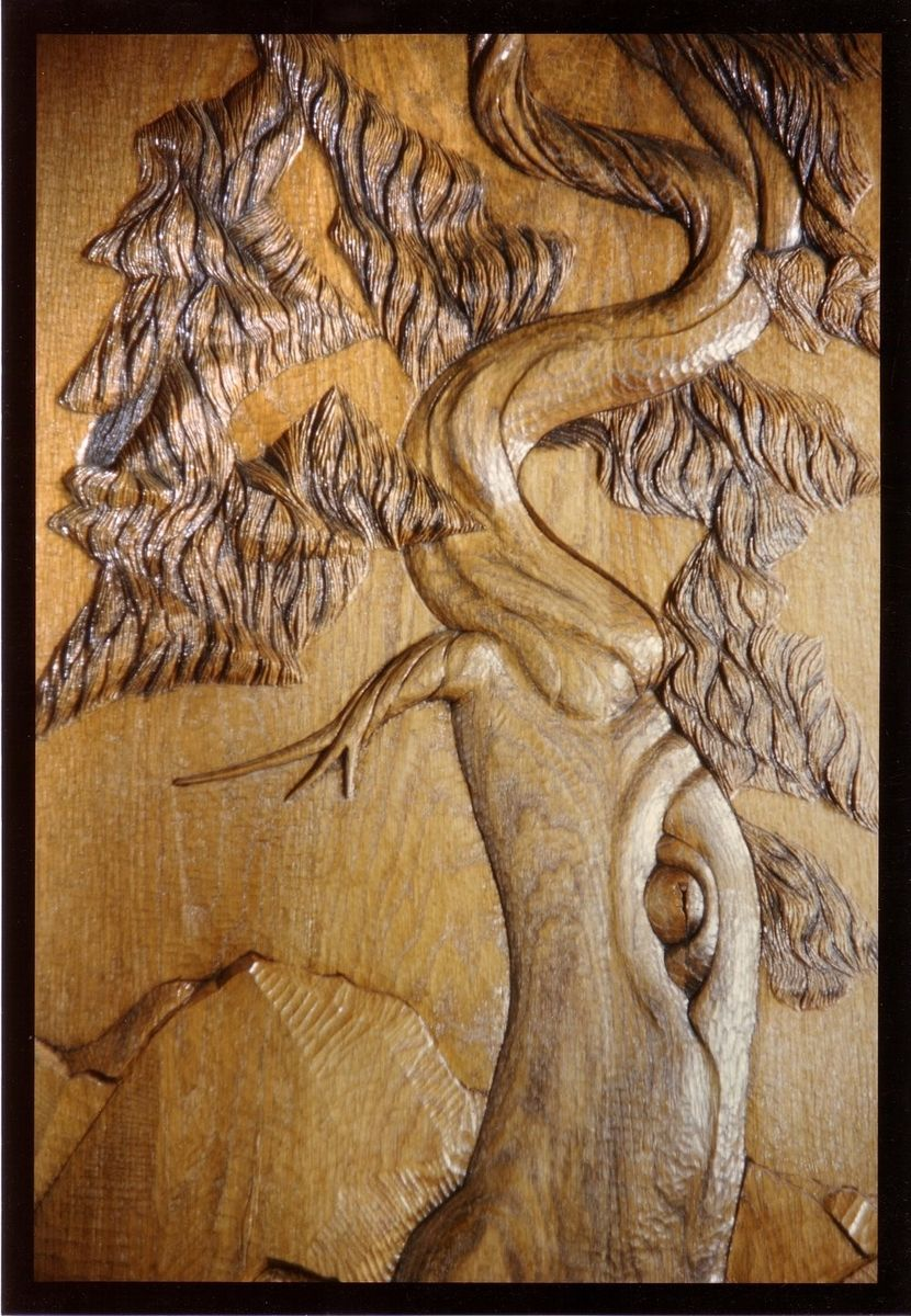 Hand Made Ancient Juniper Carved Entry Door In White Oak
