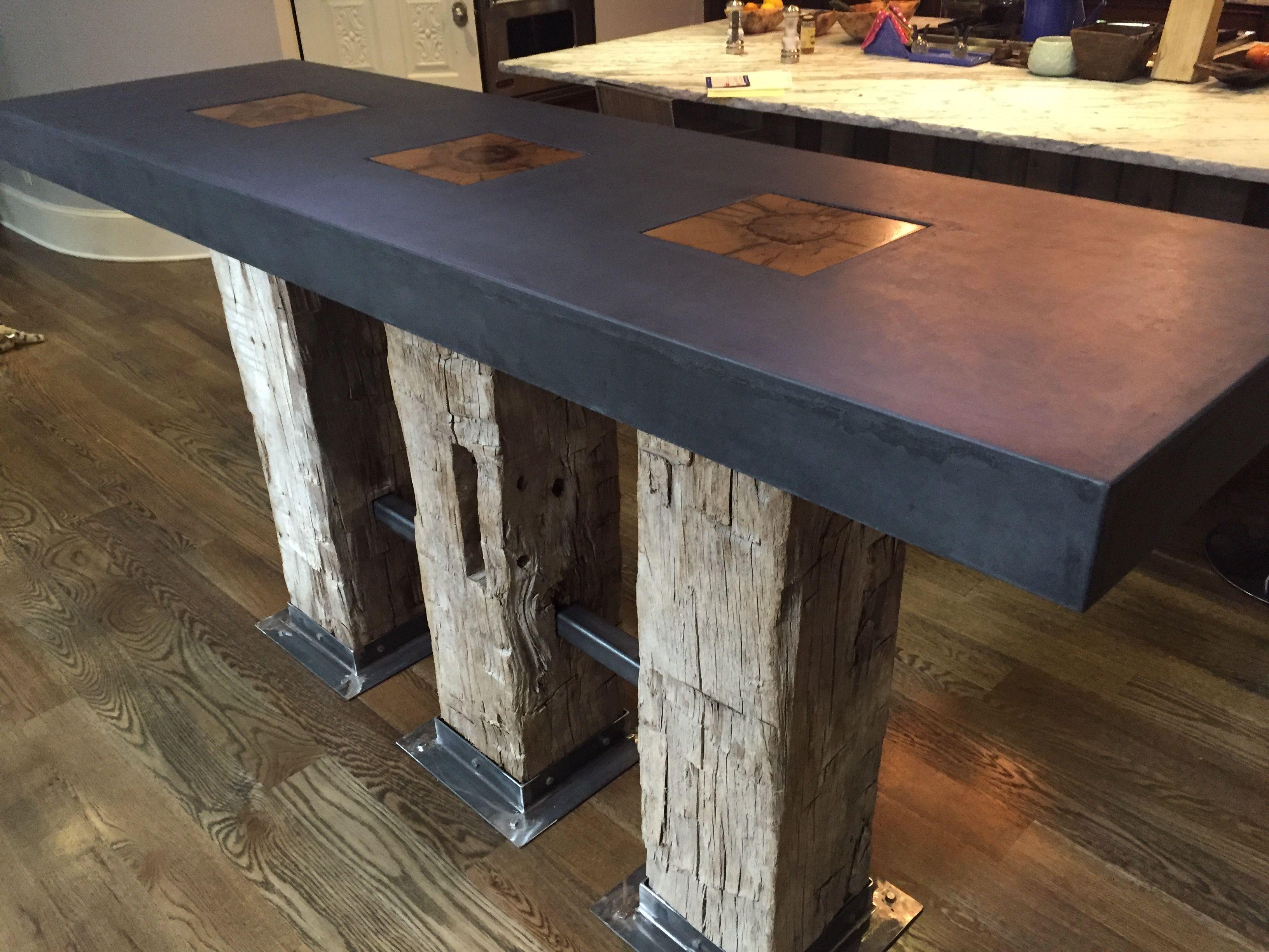 Hand Made Modern Kitchen Island Concrete In Denver by Metz