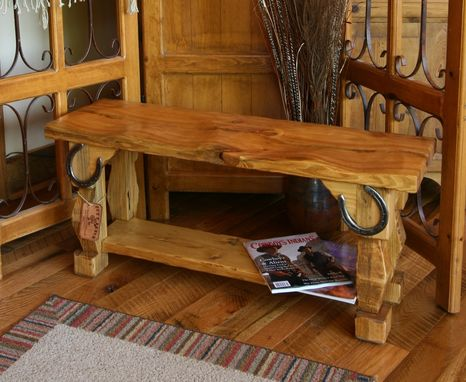 Custom Made Hand Carved Rustic Style Butt Bench by MOSS