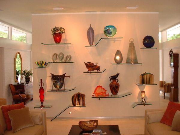Floating Glass Shelves Wall Display