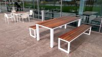 Buy a Custom Made Reclaiemd Brazilian Ipe And Steel Patio