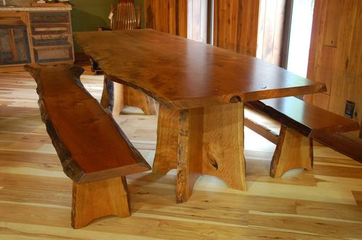 Handmade Cherry Dining Table And Benches With Live Edge By Corey Morgan Wood Works