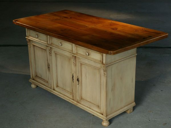 Custom Kitchen Island Furniture European Sideboard Base In Snow White With 6ft Table Top