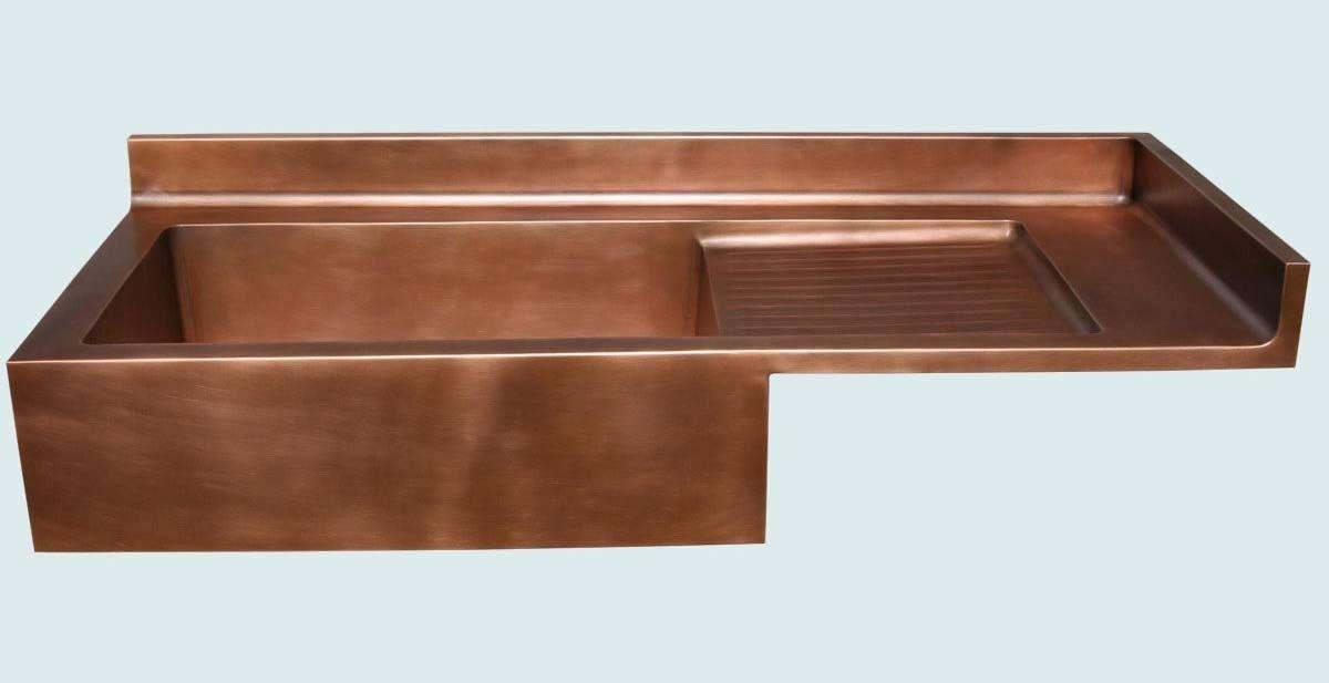 custom copper sink with drainboard