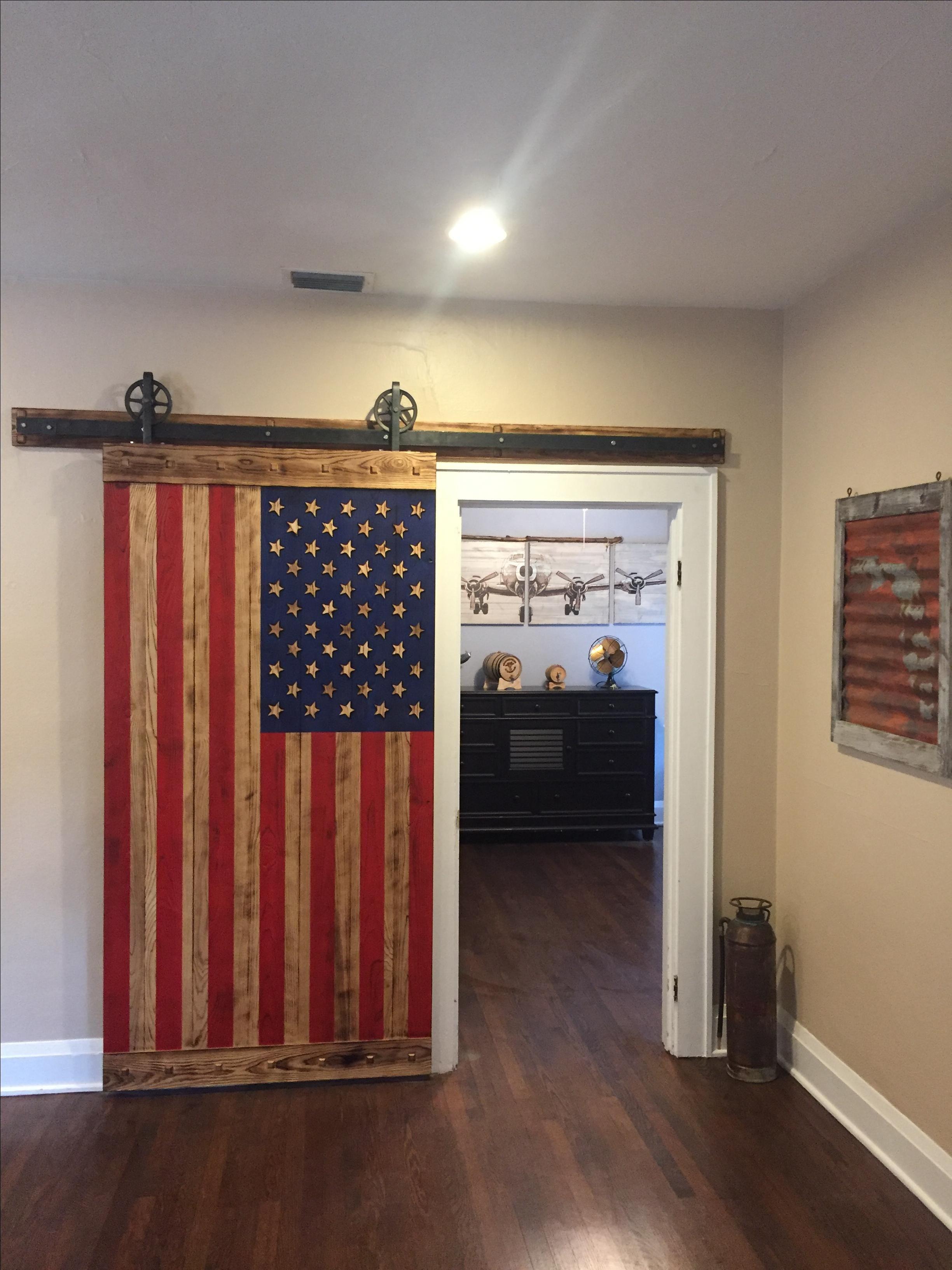 Hand Made American Flag Barn Door by WoodMetalAndBeyond  CustomMadecom