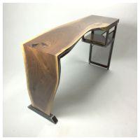 Handmade Live Edge Waterfall Desk Modern Industrial Steel ...
