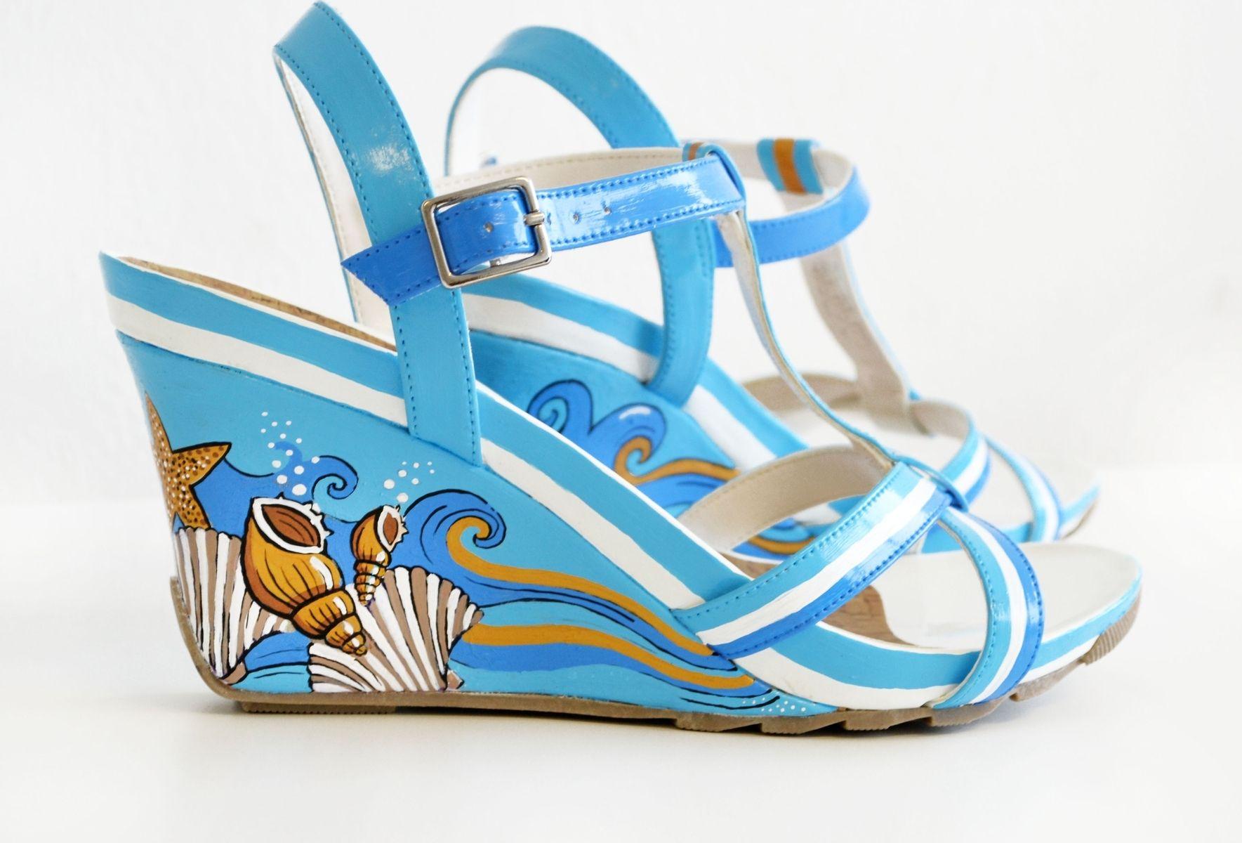 Blue Wedge Sandals Wedding