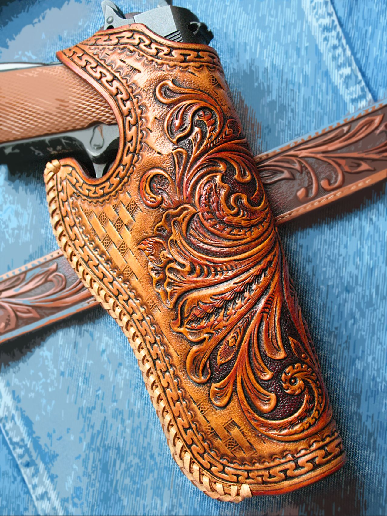 Buy a Hand Made Tooled Holster 1911 Floral Sheridan Design