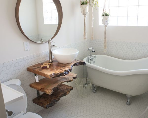 Custom Maple Live Edge Tiered Float Shelf Vanity