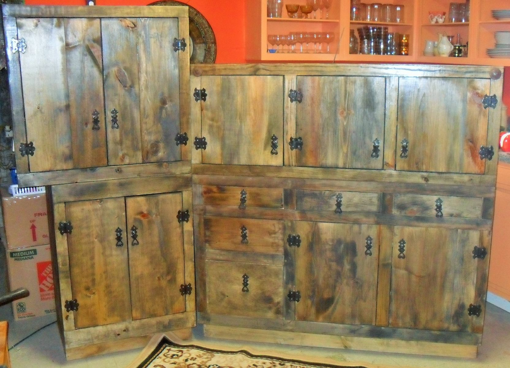 Hand Made Rustic Kitchen Cabinets by The Bunk House Studio