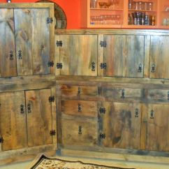 Rustic Kitchen Cabinet Storage Space In Hand Made Cabinets By The Bunk House Studio