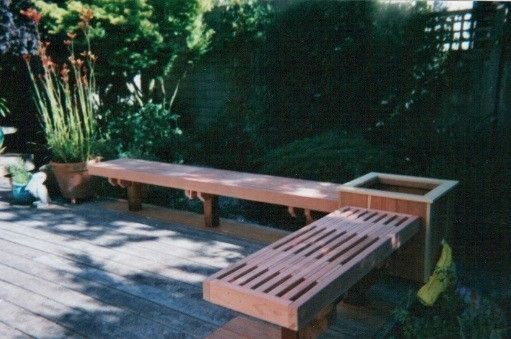 Custom Traditional Redwood Outdoor Patio Benches By