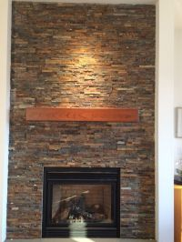 Handmade Cherry Modern Beam Fireplace Mantel. by Custom