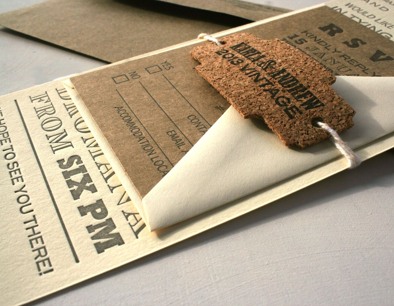 Custom Vintage Fonts Long Letterpress Wedding Invitation