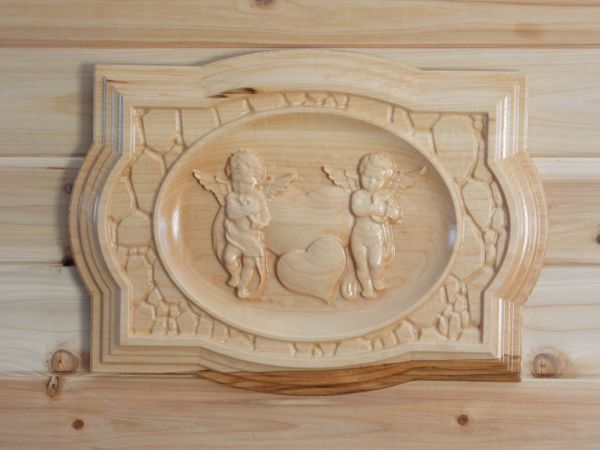 Hand Crafted Angel Cherub Vintage 3d Wood Art Wall Hanging Wedding Housewarming
