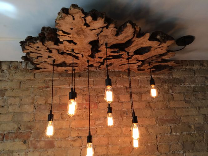 Custom Made Large Live Edge Olive Wood Chandelier With Edison Bulbs Rustic