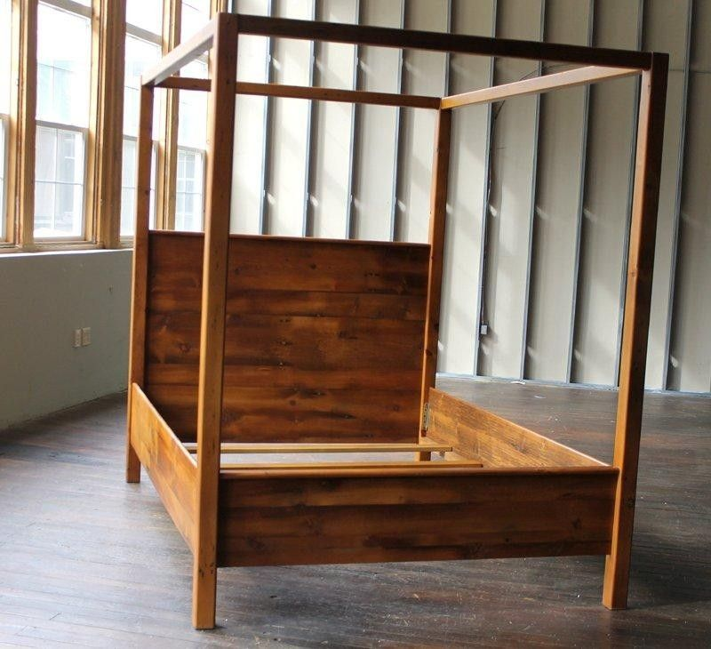 Custom Canopy Bed From Rustic Reclaimed Pine Finished In