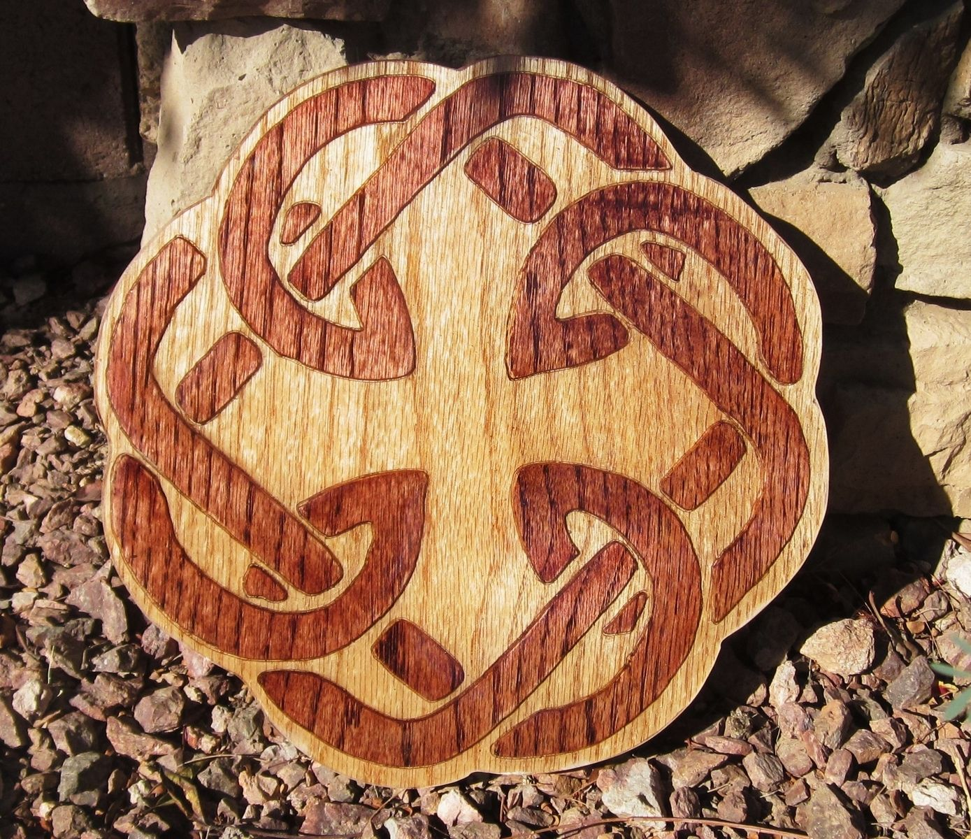 Hand Crafted Celtic Knot Carved Father Daughter Knot By
