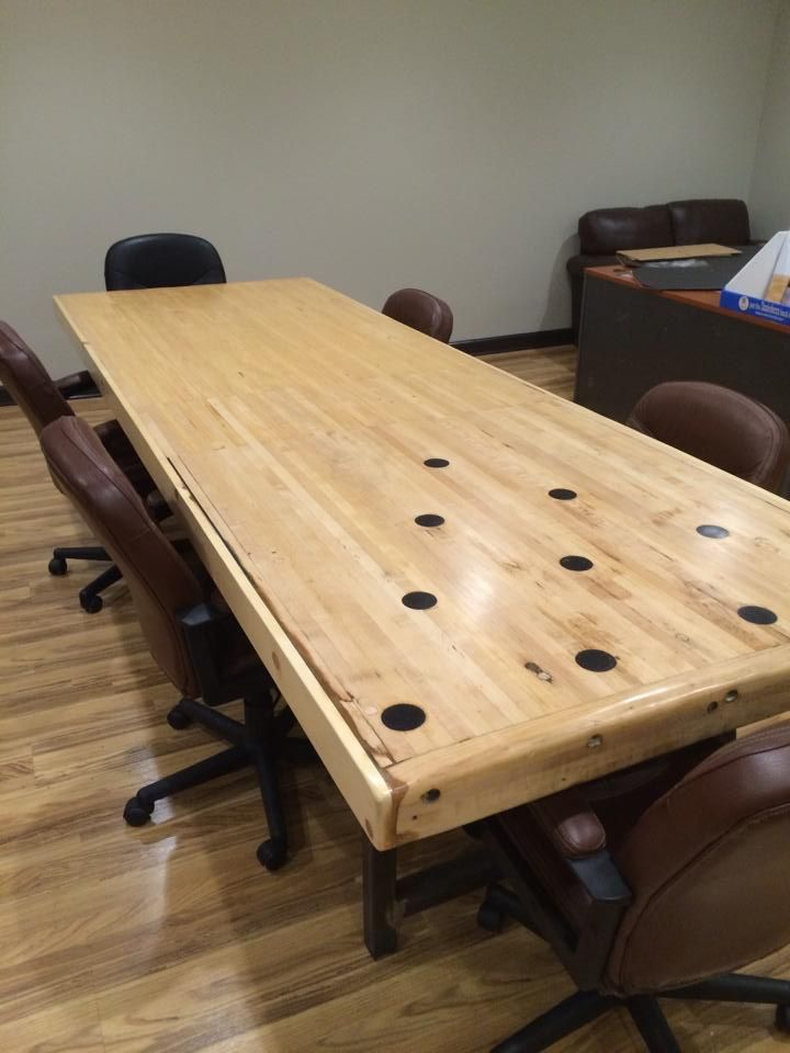 Buy A Hand Made Reclaimed Bowling Alley Conference Table Made To Order From Reclaimed