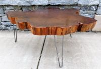 Hand Crafted Big Round Coffee Table- Live Edge Slab Table ...