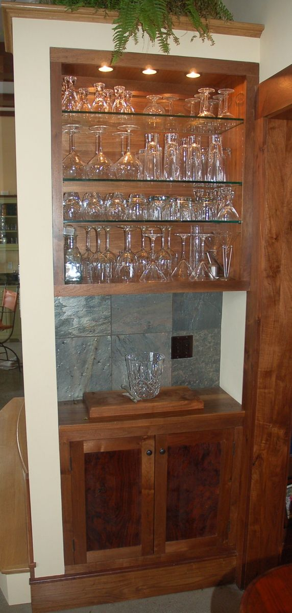 Handmade Custom Claro Walnut BuiltIn Bar And Cabinet by Louchheim Design Furniture  CustomMadecom