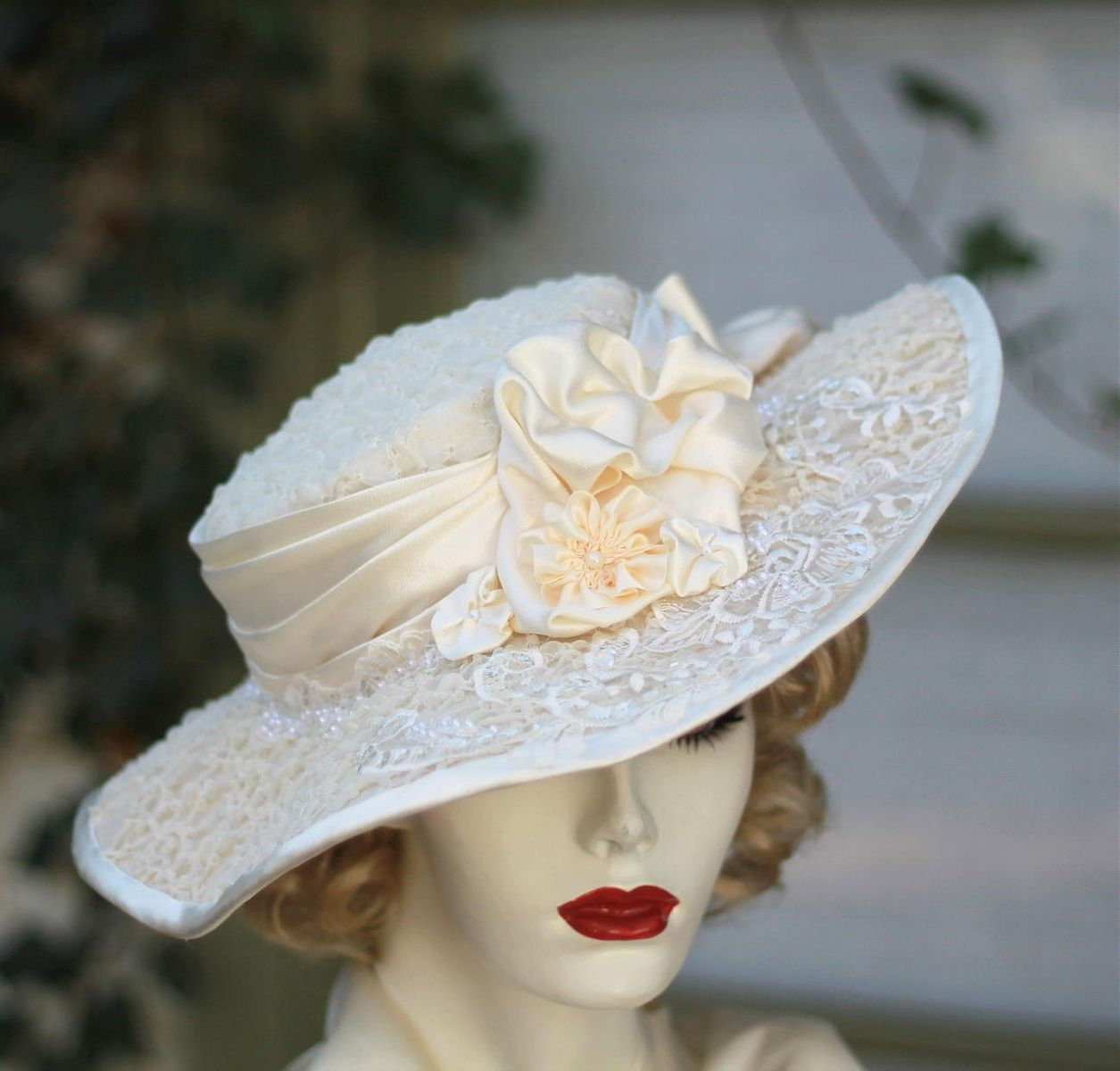 Hand Crafted Vintage Edwardian Hat Formal Tea Party Wedding For Summer Lace Flowered by Gails