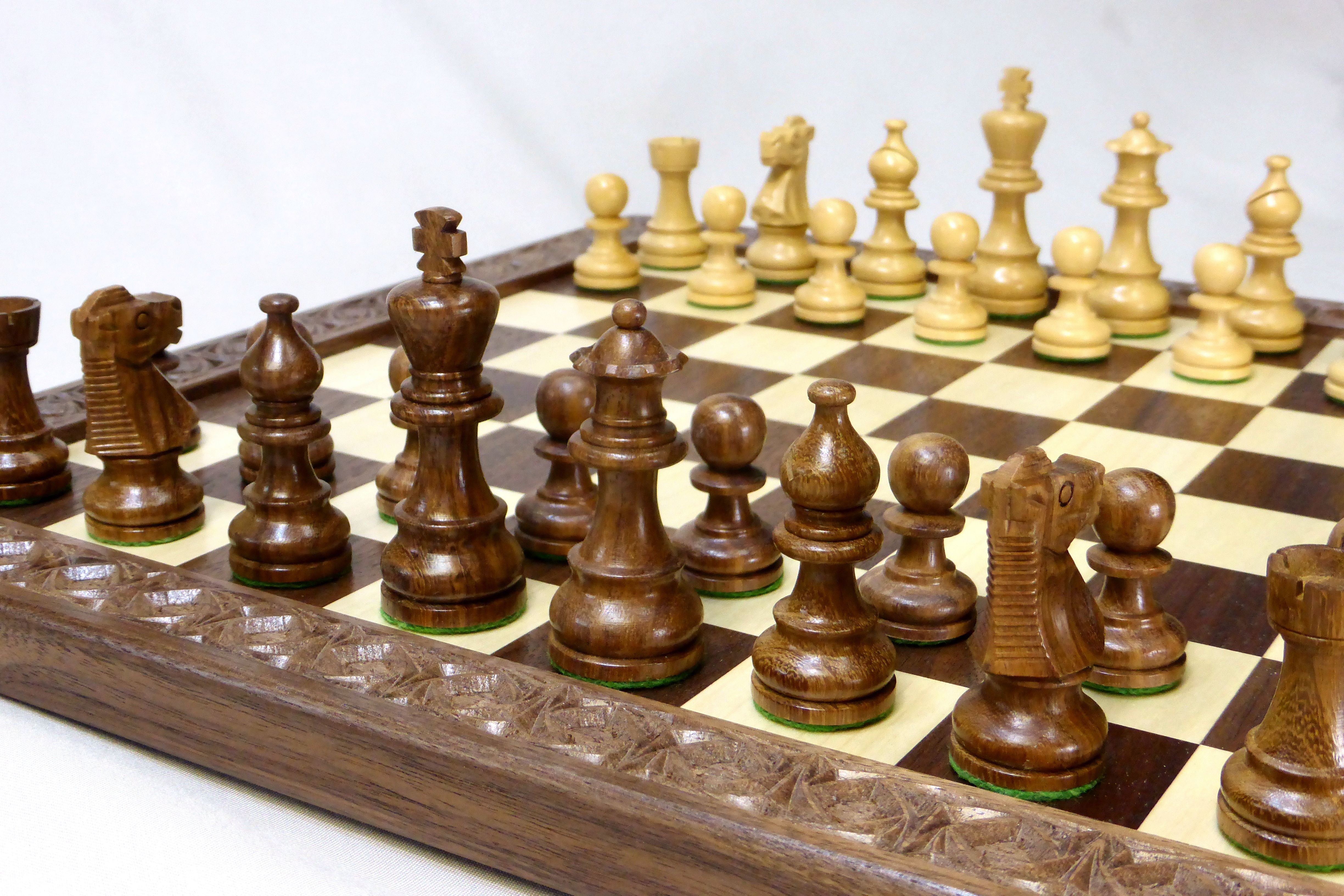 chess table and chairs folding chair quality custom walnut ash board by debner fine art furniture maple checkers with carved border nathan epp
