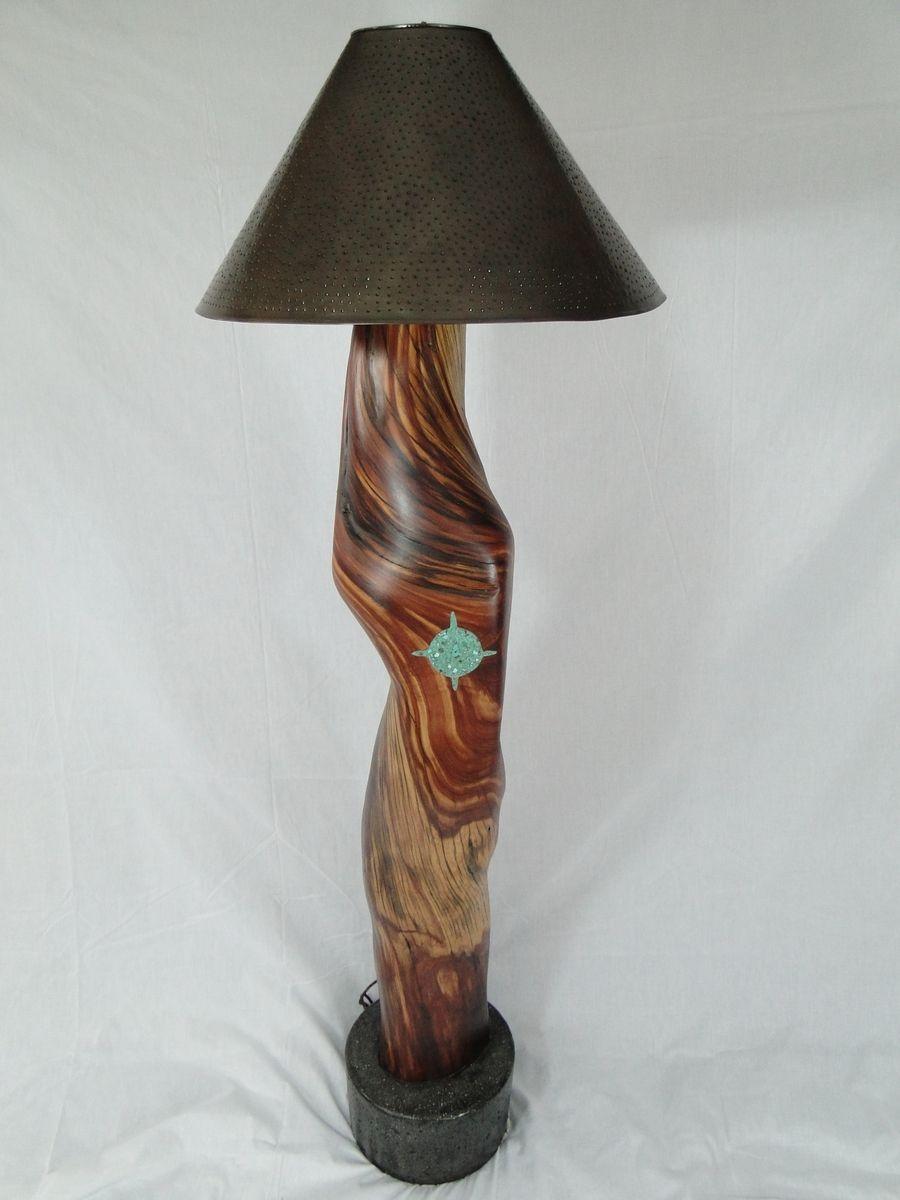 Custom Made Reclaimed Cedar Floor Lamp With Turquoise