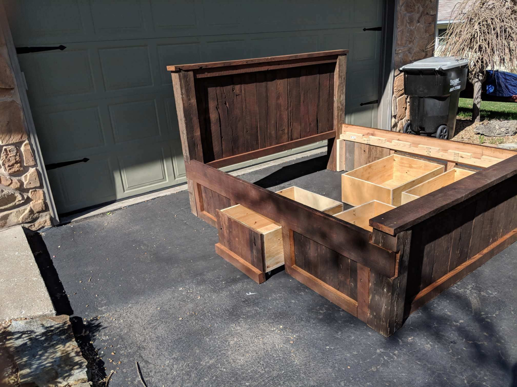 buy hand made reclaimed barn wood bed