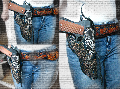 Buy A Hand Crafted Tooled 1911 Leather Holster Colt Skull Floral Made To Order From Serges